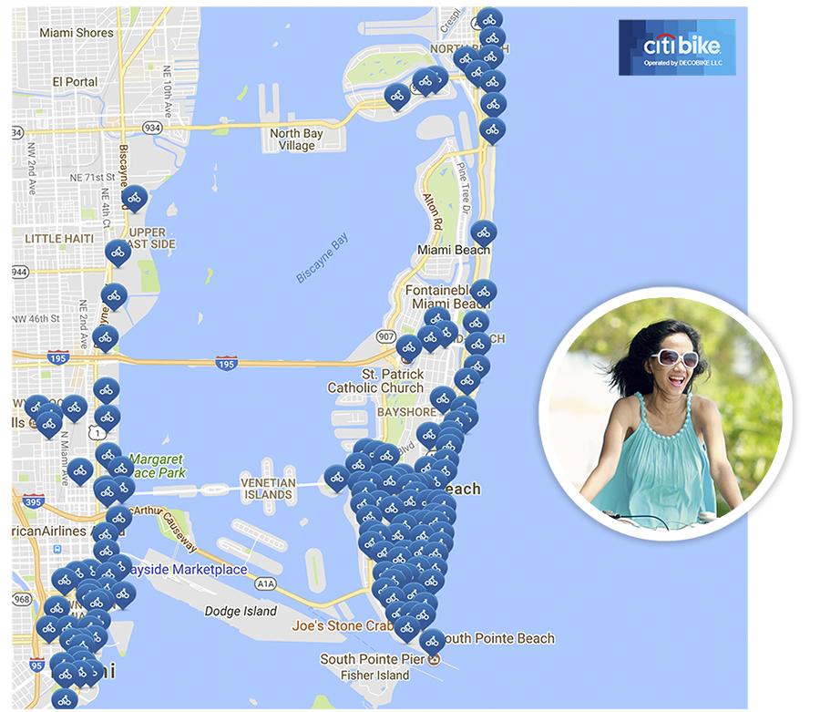 Citi Bike Station Map CitiBike | Miami Beach   Rising Above
